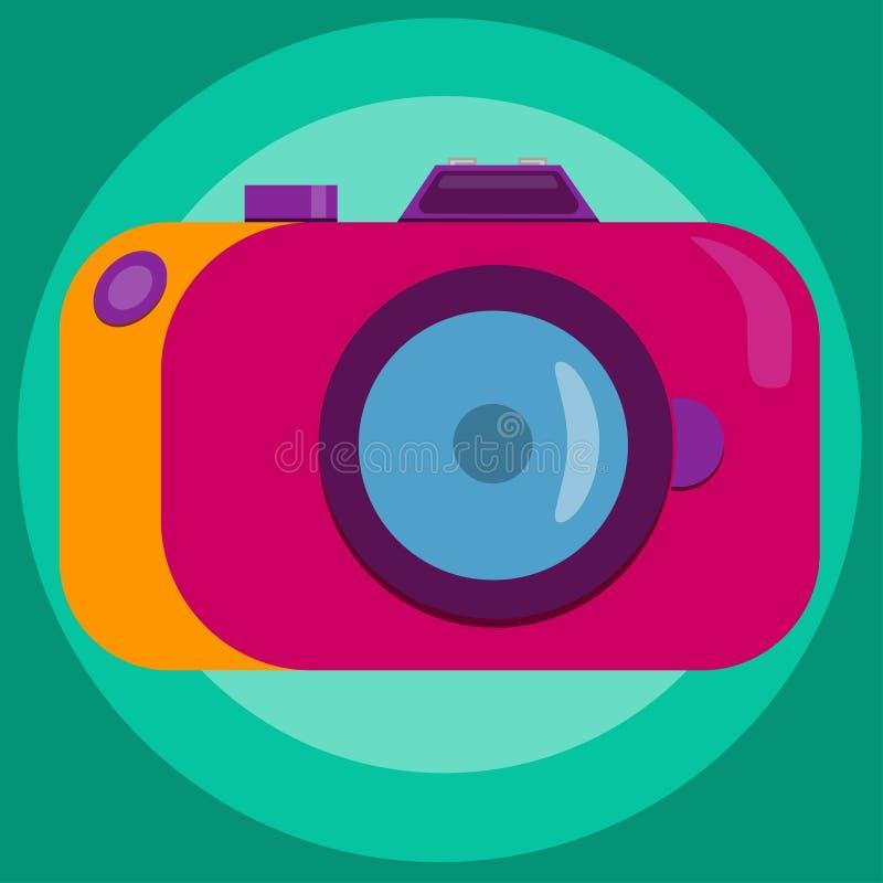 Vintage camera in pink-orange colors. Vector illustration. Flat style. stock illustration
