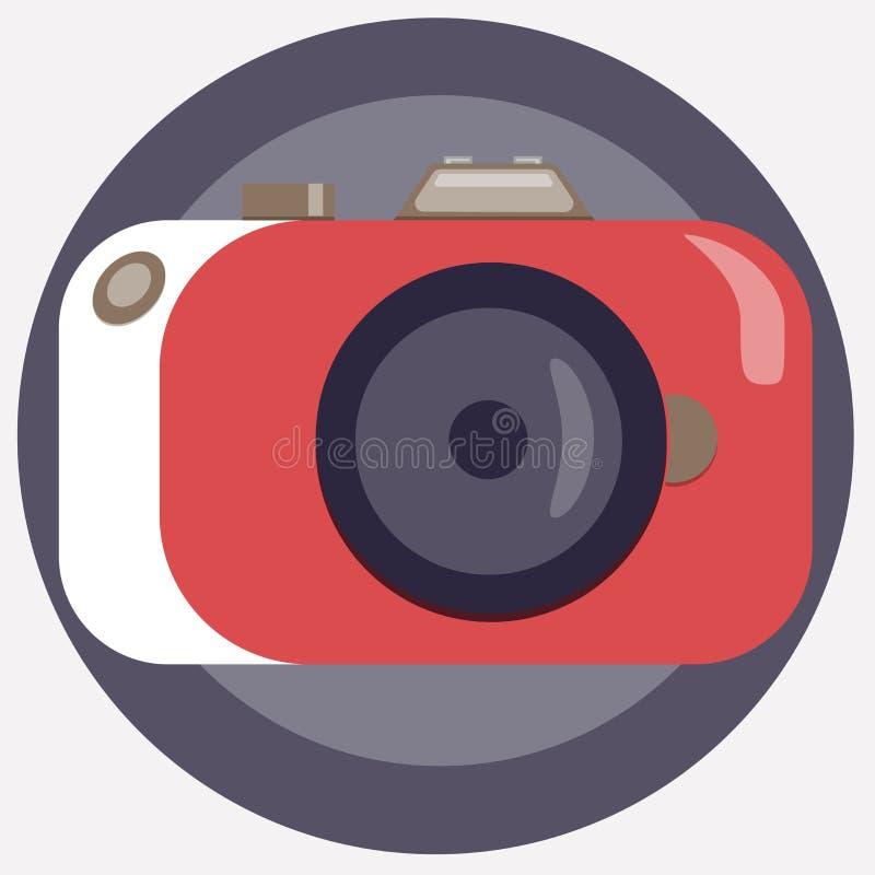 Stylish camera in a corral-white color. Retrofuturism photographic equipment. Vector illustration. vector illustration