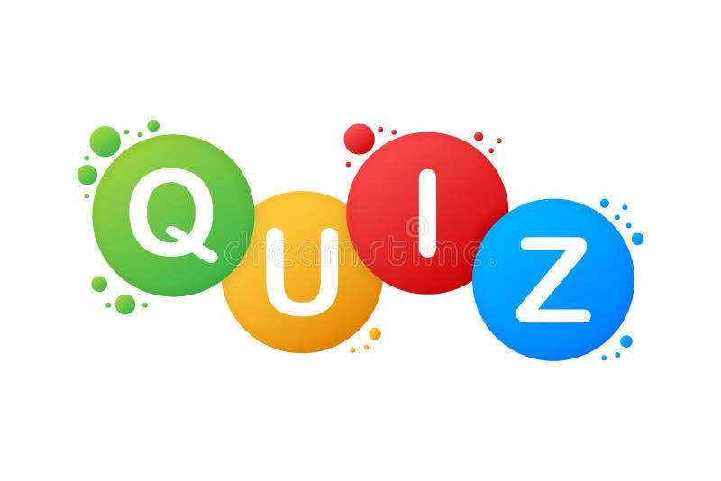 Quiz logo with speech bubble symbols, concept of questionnaire show sing, quiz button, question competition. Vector illustration. stock illustration