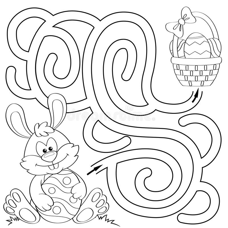 Help little bunny find path to easter basket with eggs. Labyrinth. Maze game for kids. Black and white illustration for coloring. Book. Vector illustration royalty free illustration