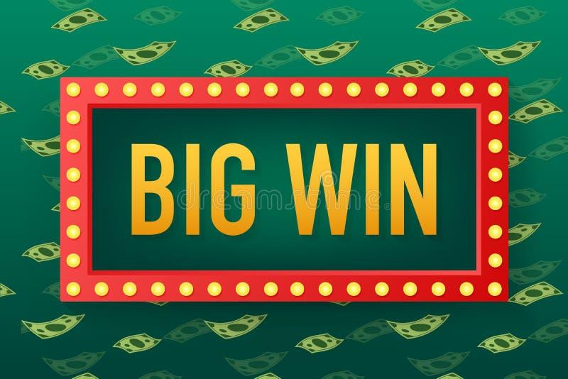 Big win casino banner. casino, Poker, slot, roulette or bone. Vector illustration. Big win casino banner. casino, Poker, slot, roulette or bone. Vector stock royalty free illustration