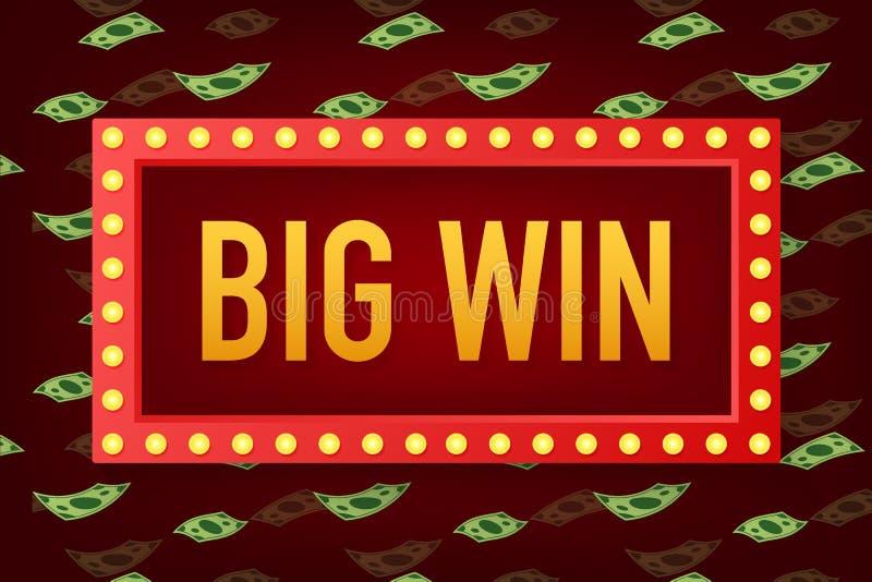 Big win casino banner. casino, Poker, slot, roulette or bone. Vector illustration. Big win casino banner. casino, Poker, slot, roulette or bone. Vector stock vector illustration