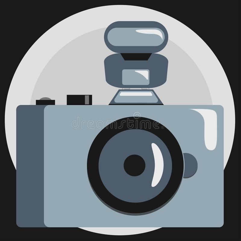 Camera in grayscale. Vector graphics. Flat style. stock illustration