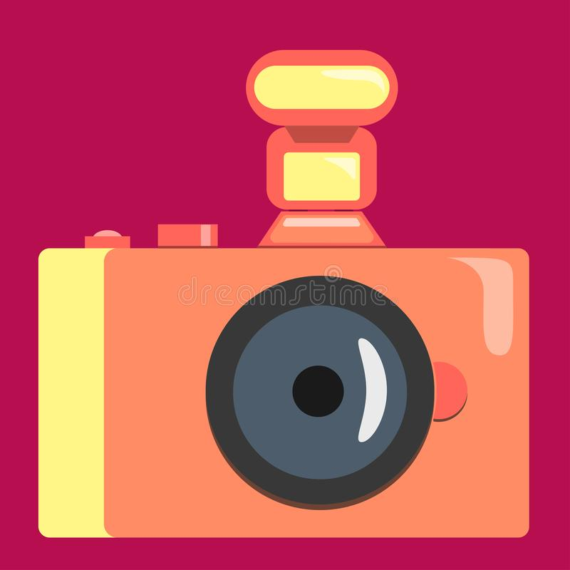 The camera in coral tones. Vector graphics. Flat style. royalty free illustration