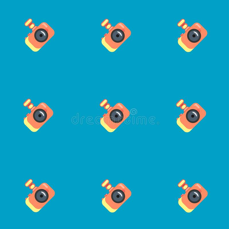 Camera on a blue background. Seamless pattern. Vector graphics. Flat style. vector illustration