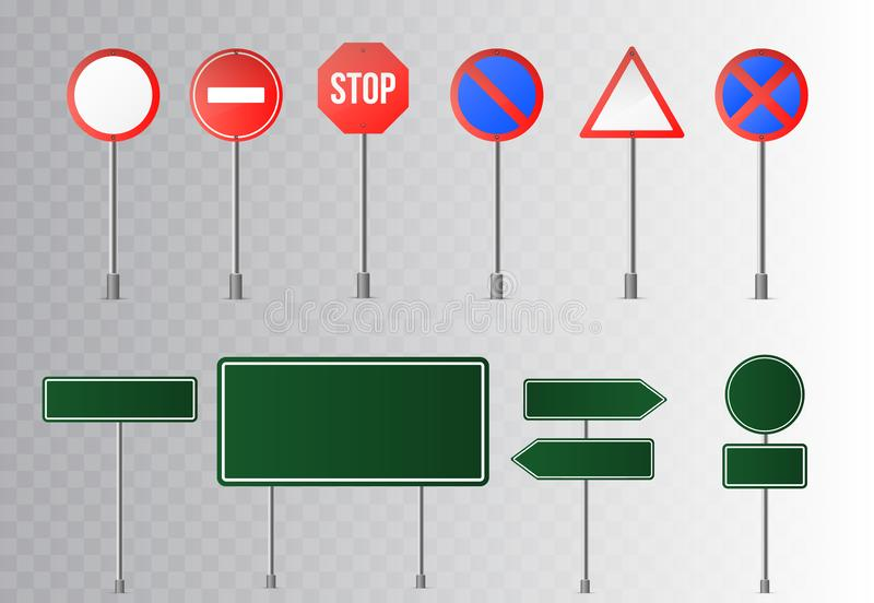 Set of street traffic and green road signs, signpost and guidepost . isolated on transparent background. Vector illustration vector illustration