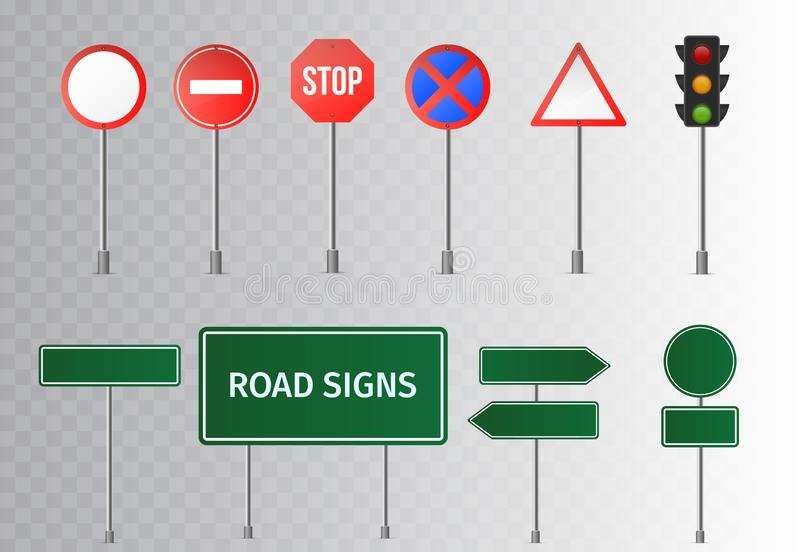 Set of street traffic and green road signs, signpost and guidepost . isolated on transparent background. Vector illustration royalty free illustration