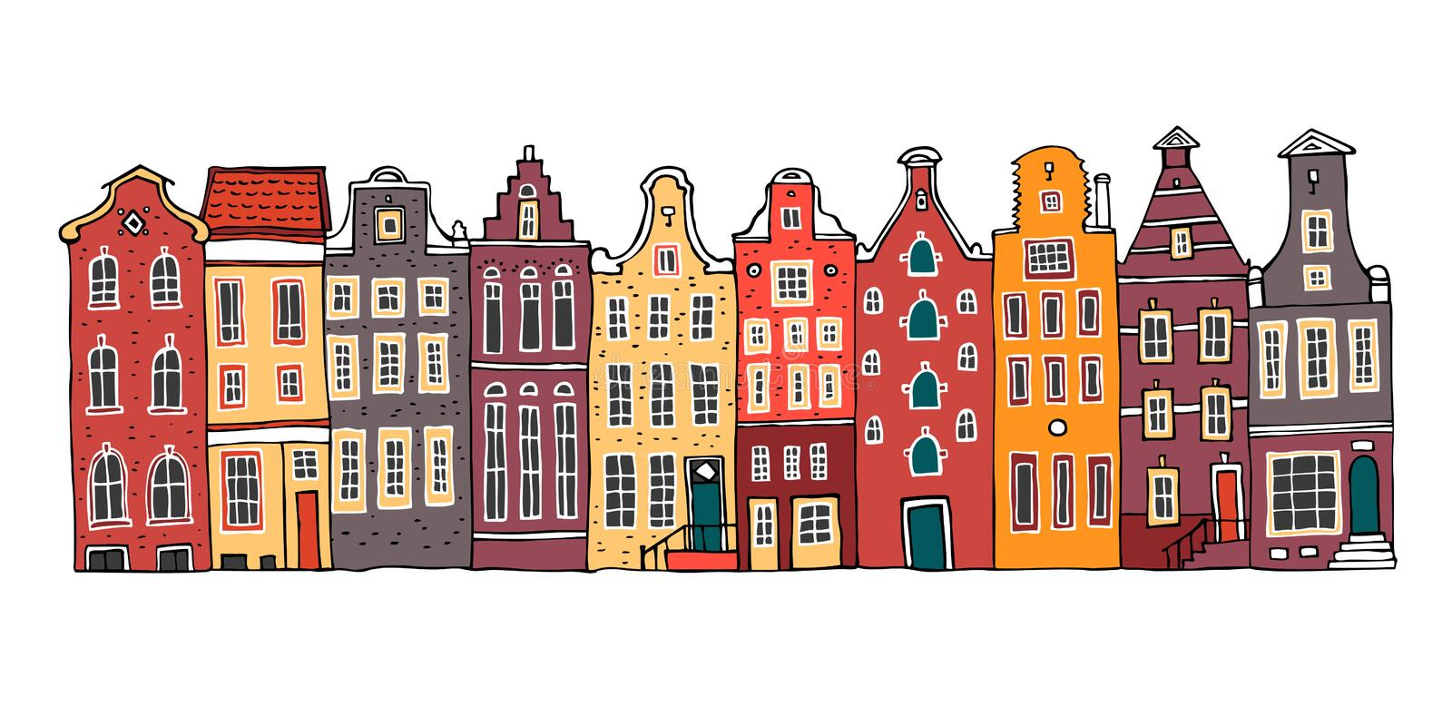 Amsterdam colorful vector sketch hand drawn illustration. Cartoon outline houses facades in a row royalty free illustration