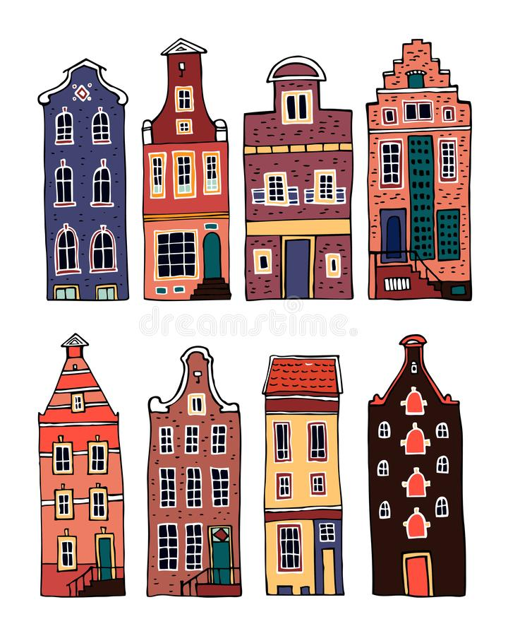 Amsterdam colorful vector sketch hand drawn illustration. Set of cartoon outline houses facades stock illustration