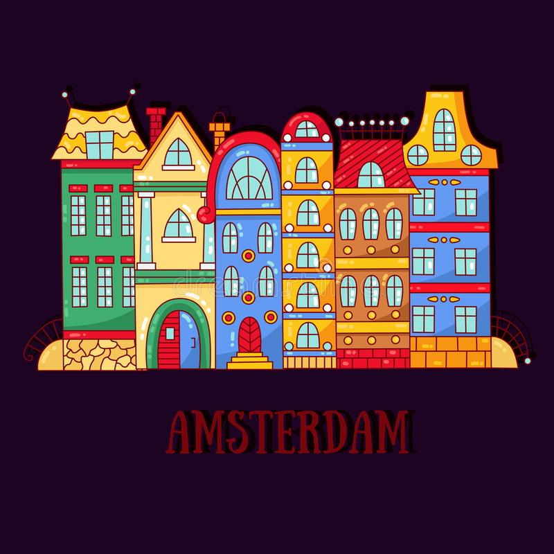 Amsterdam doodle cartoon houses buildings vector illustration. Amsterdam netherlands doodle cartoon houses buildings vector illustration stock illustration