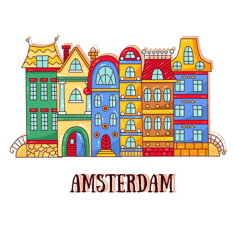 Amsterdam old city street houses vector illustration vector illustration