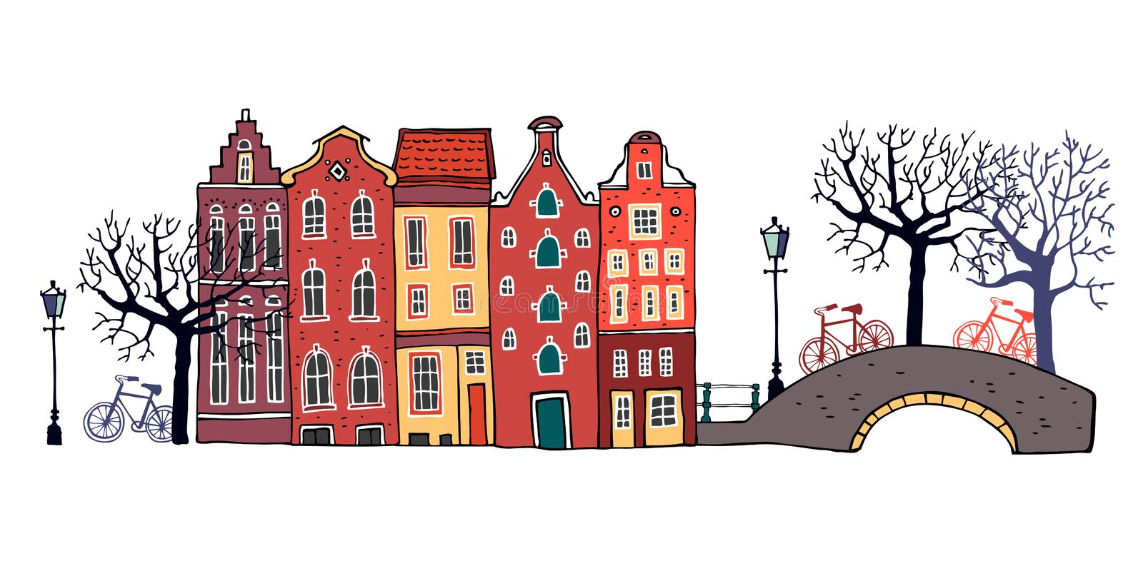 Amsterdam street scene. Vector color outline sketch hand drawn illustration. Three houses with bridge, lantern, trees vector illustration