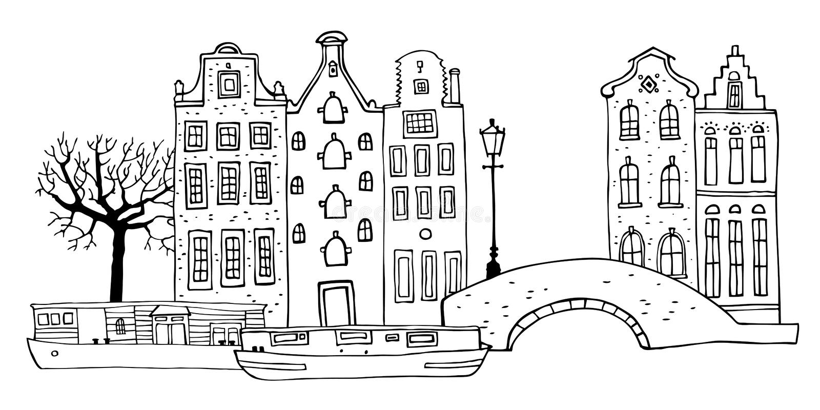 Amsterdam street scene. Vector outline sketch hand drawn illustration. Houses with bridge, lantern, trees and boats stock illustration
