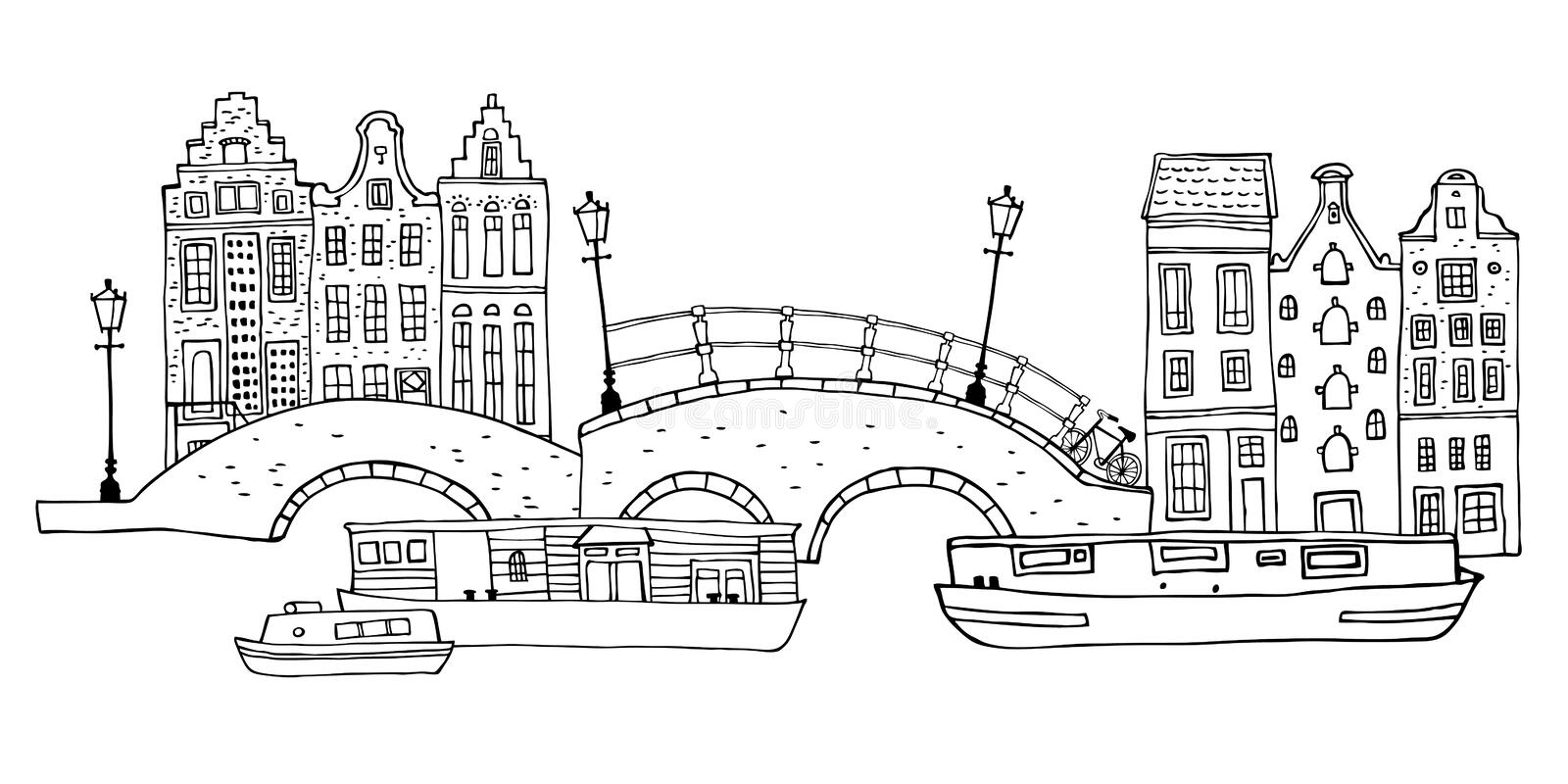 Amsterdam street scene. Vector outline sketch hand drawn illustration. Houses with bridges, lanterns and boats. Isolated on white background stock illustration