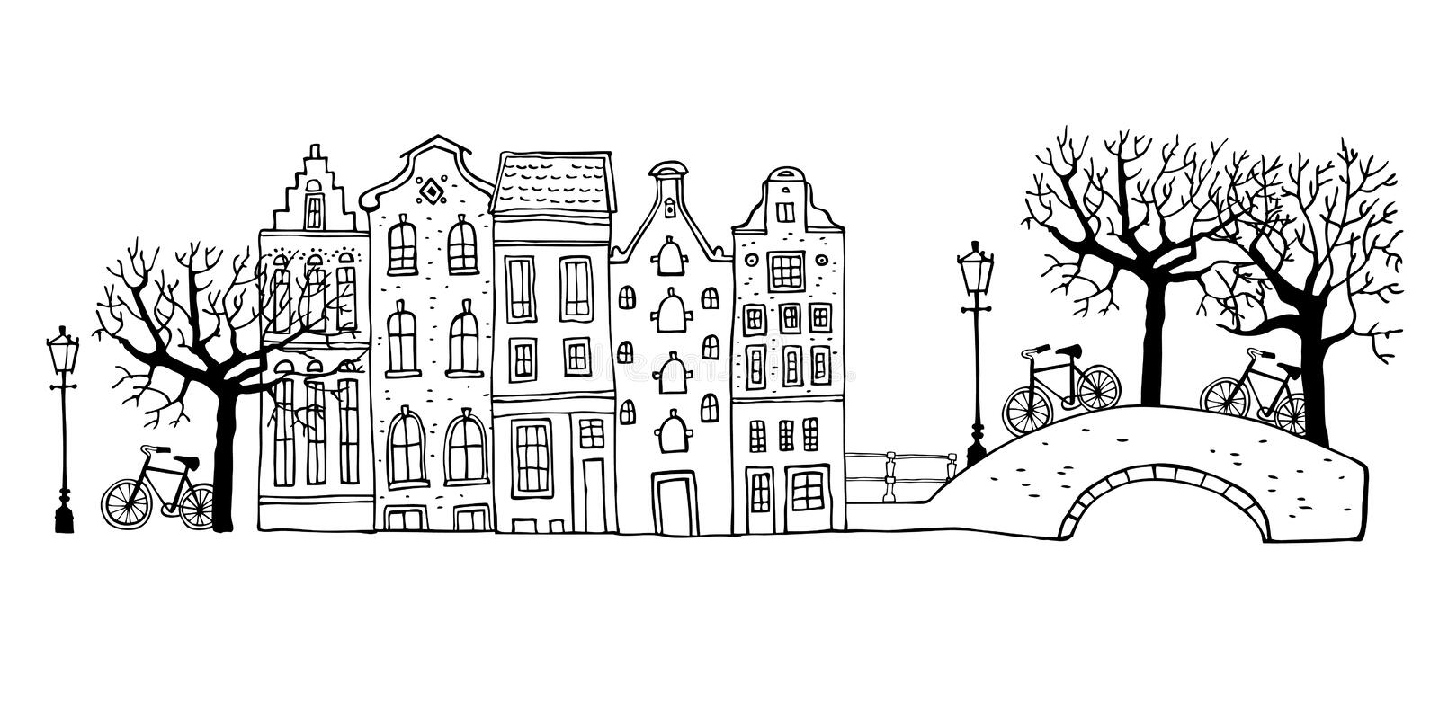 Amsterdam street scene. Vector outline sketch hand drawn illustration. Houses with bridges, lanterns, trees and bicycles royalty free illustration