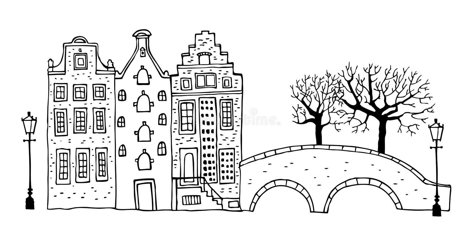 Amsterdam street scene. Vector outline sketch hand drawn illustration. Three houses with bridge, lantern, trees royalty free illustration