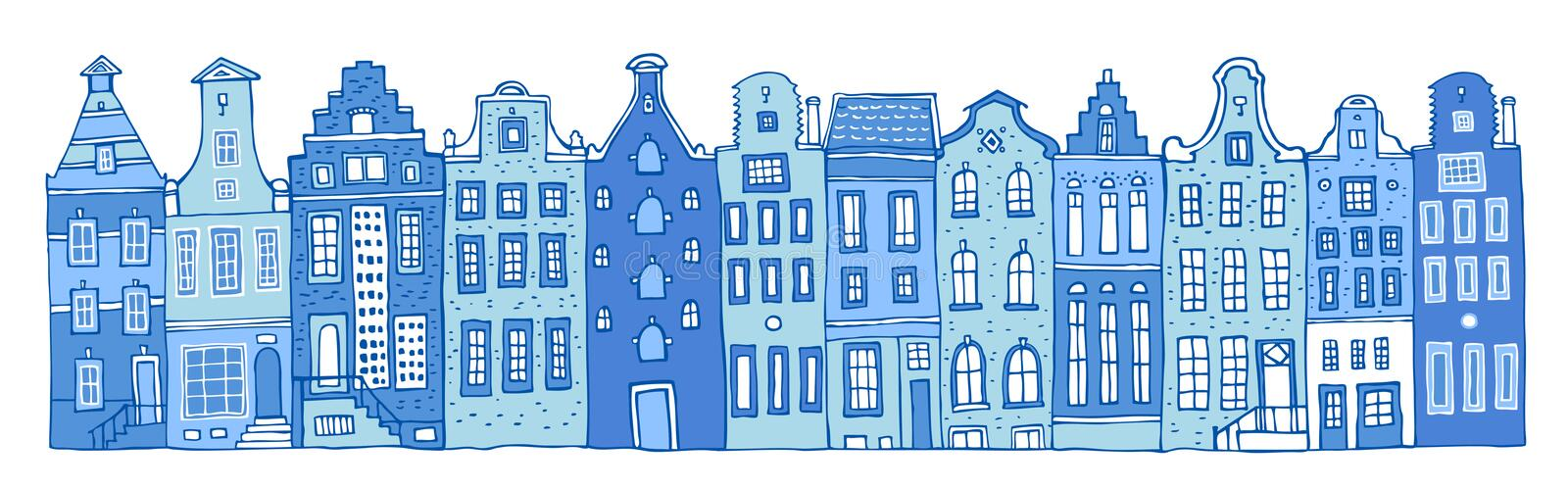Amsterdam vector sketch hand drawn illustration. Cartoon outline houses facades in a row in colors of blue porcelain paints. Isolated on white background vector illustration