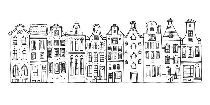 Amsterdam vector sketch hand drawn illustration. Cartoon outline houses facades in a row. Isolated on white background royalty free illustration