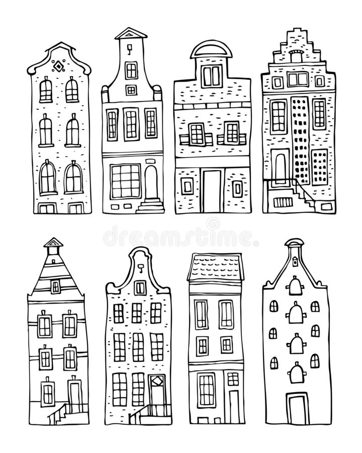 Amsterdam vector sketch hand drawn illustration. Set of cartoon outline houses facades. Isolated on white background royalty free illustration