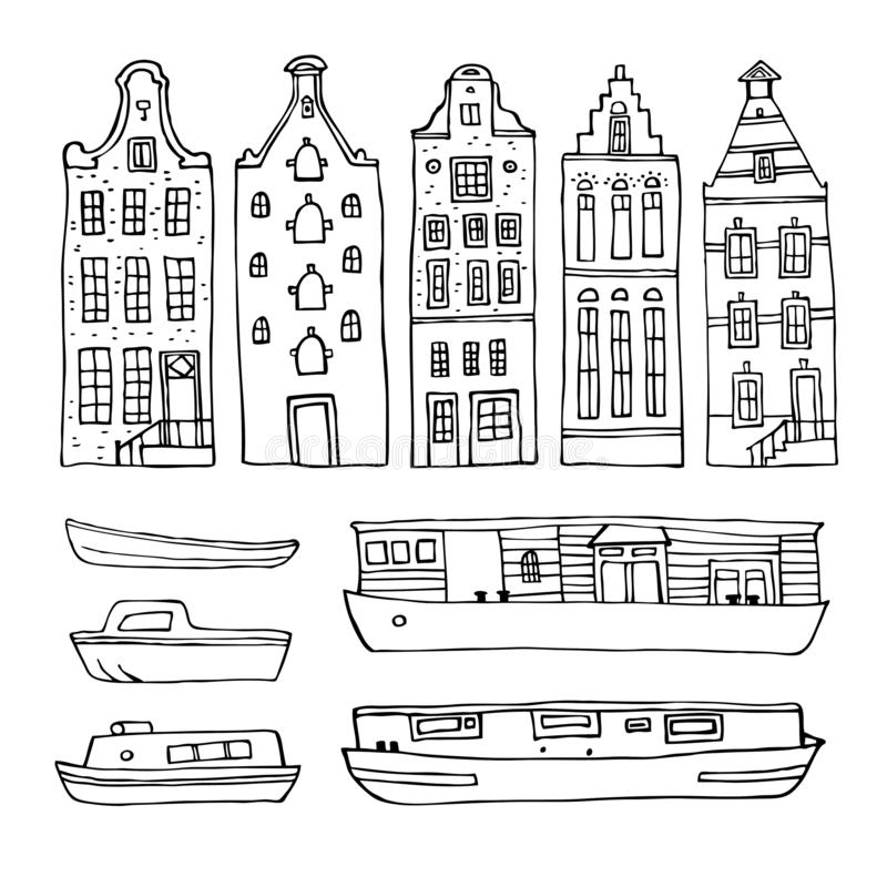 Amsterdam vector sketch hand drawn illustration. Set with outline houses and boats. Isolated on white background vector illustration