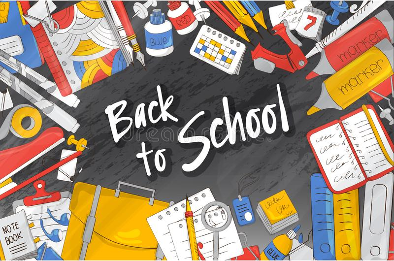 School action. Vector illustration on the theme of education, knowledge, training. The concept of school products. Suitable for gr vector illustration