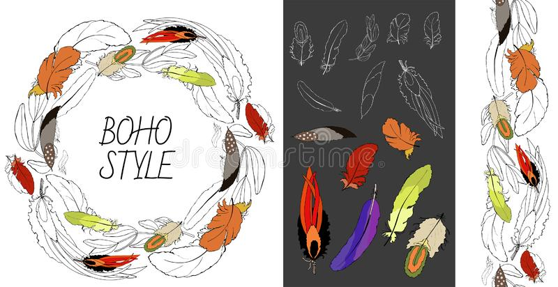 Card, template, set with hand drawn feathers of birds. vector illustration