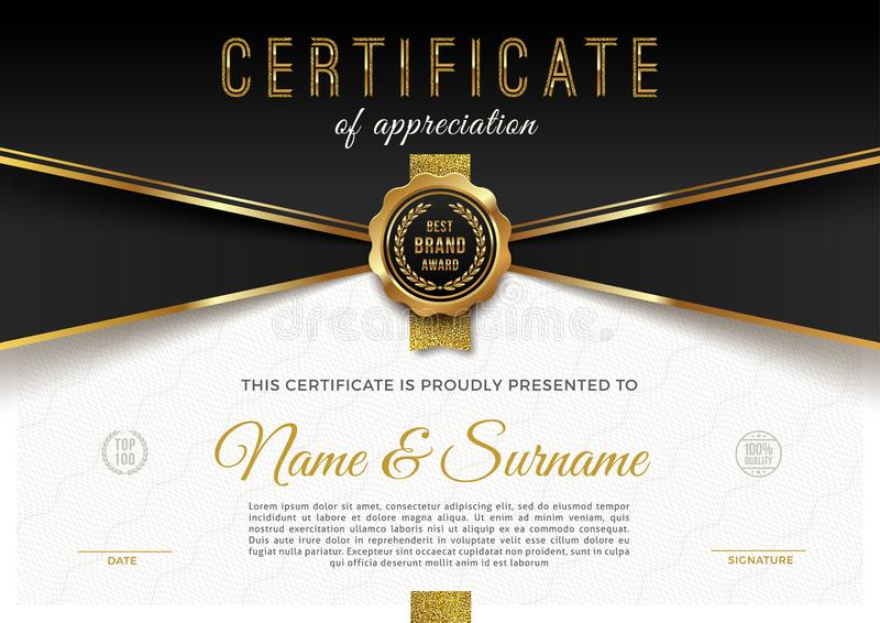 Certificate template with guilloche pattern and luxury golden elements. Diploma template design. vector illustration
