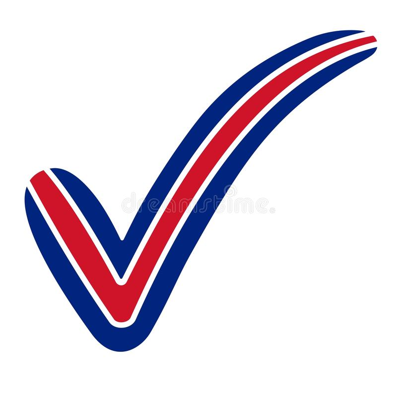 Check mark style USA, Australia, New Zealand, United Kingdom flag symbol elections, voting and approval, vector concept check mark. Tick vector illustration