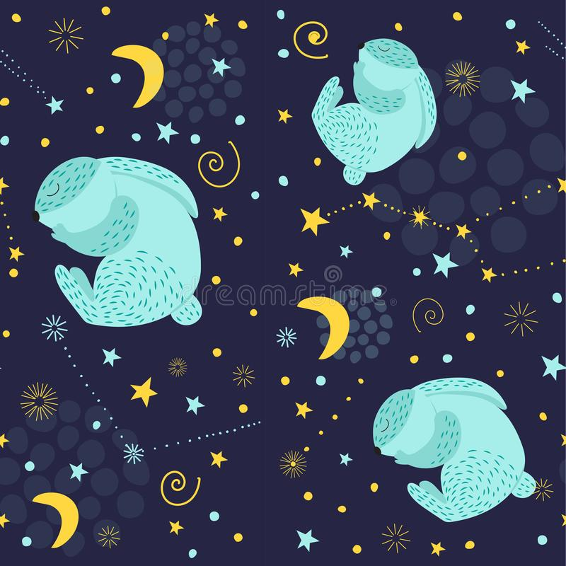 Children`s pattern sleeping Bunny in the sky. Blue rabbit in the night sky, where the stars are shining, a big bear. For textiles, royalty free illustration