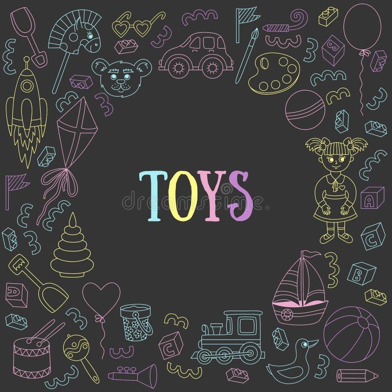 Children toys doodle icons stock illustration
