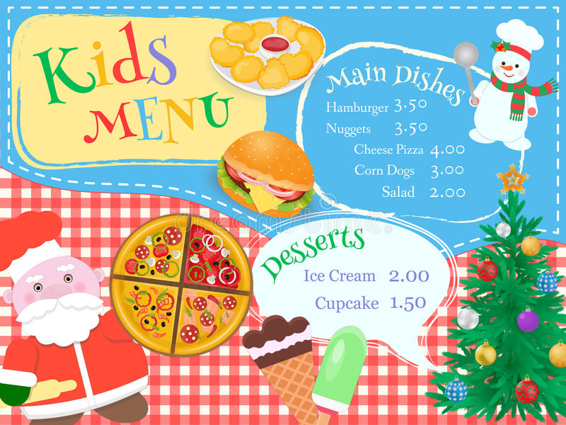 Christmas and New Year Kids Menu with chef Santa and snowman royalty free illustration