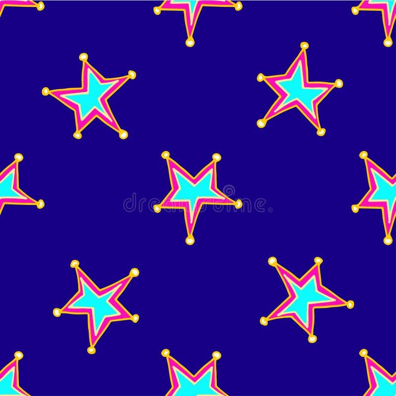 Печать со звездами руки вычерченными с голубым и розовым центром и желтыми кругами на лучах на темно-синей предпосылке бесплатная иллюстрация
