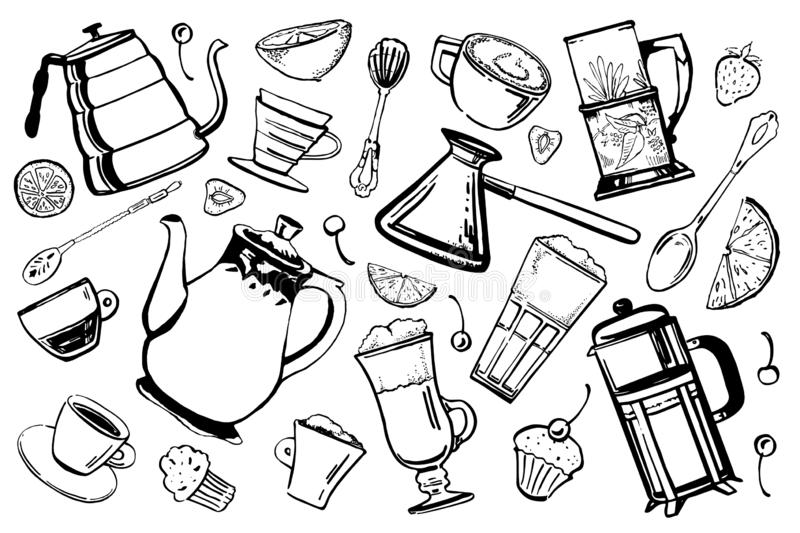 Coffee and tea pots, utensils and desserts set. Hand drawn sketch vector illustration. Isolated on white background vector illustration