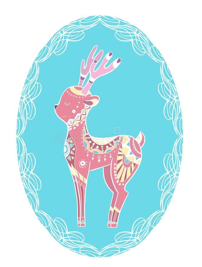 Cute gentle coloring cartoon deer with boho pattern in frame. Native illustration. The object is separate from the background. Ve vector illustration