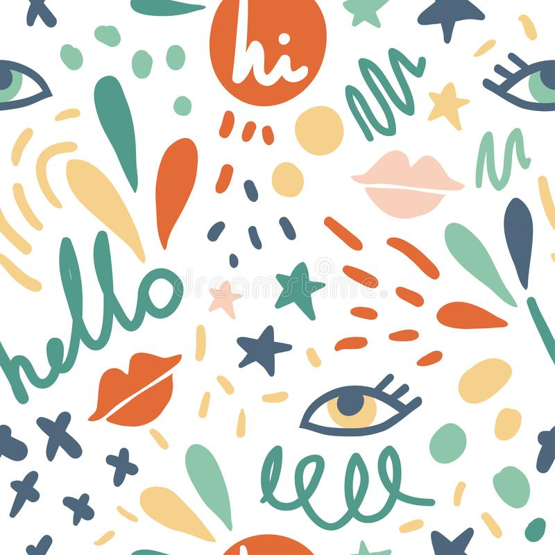 Cute seamless vector pattern with eyes, lips, words. Hi, hello. Fun abstract texture with brush strokes, abstract shapes. Fun modern original background. Trendy stock illustration