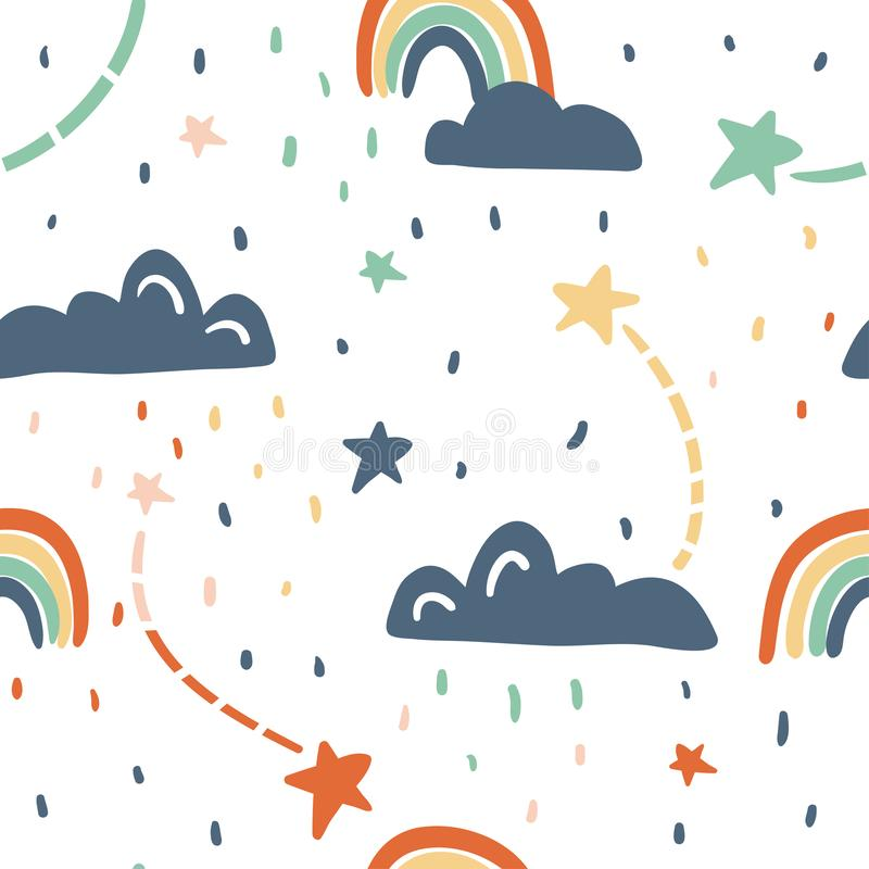 Cute seamless vector pattern with stars, rainbow, clouds. Fun abstract texture with brush strokes, abstract shapes. Fun modern original background. Trendy vector illustration