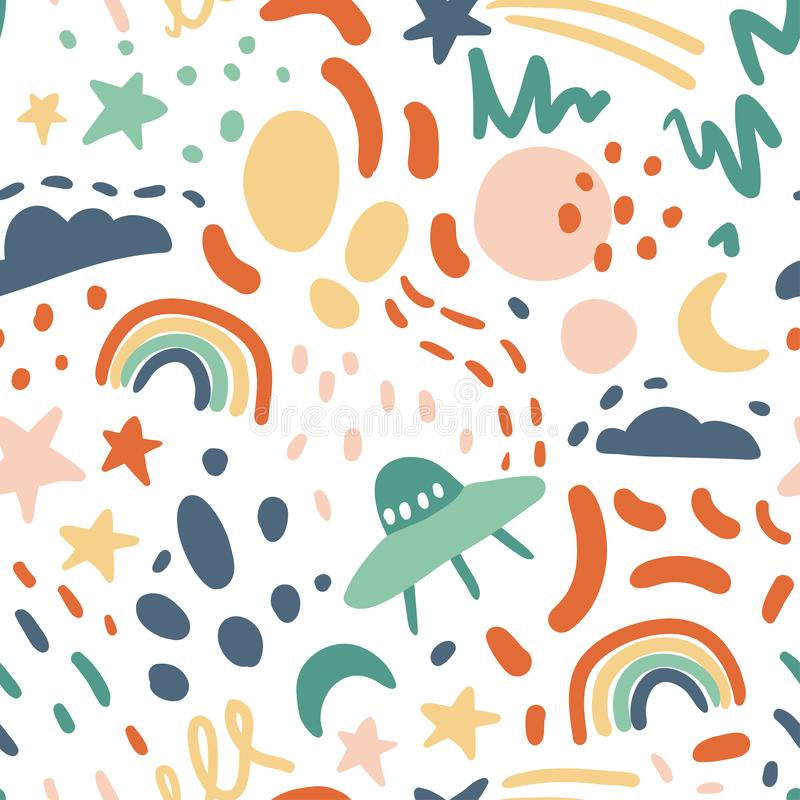 Cute seamless vector pattern with stars, rainbow, moon, clouds. Ufo. Fun abstract texture with brush strokes, abstract shapes. Fun modern original background stock illustration