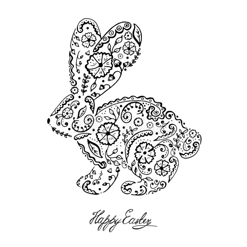 Easter bunny rabbit hand drawn Vintage card. Contour Rabbit with decorated with folk ornament and flowers ornate with ethnic pattern. Vector illustration vector illustration