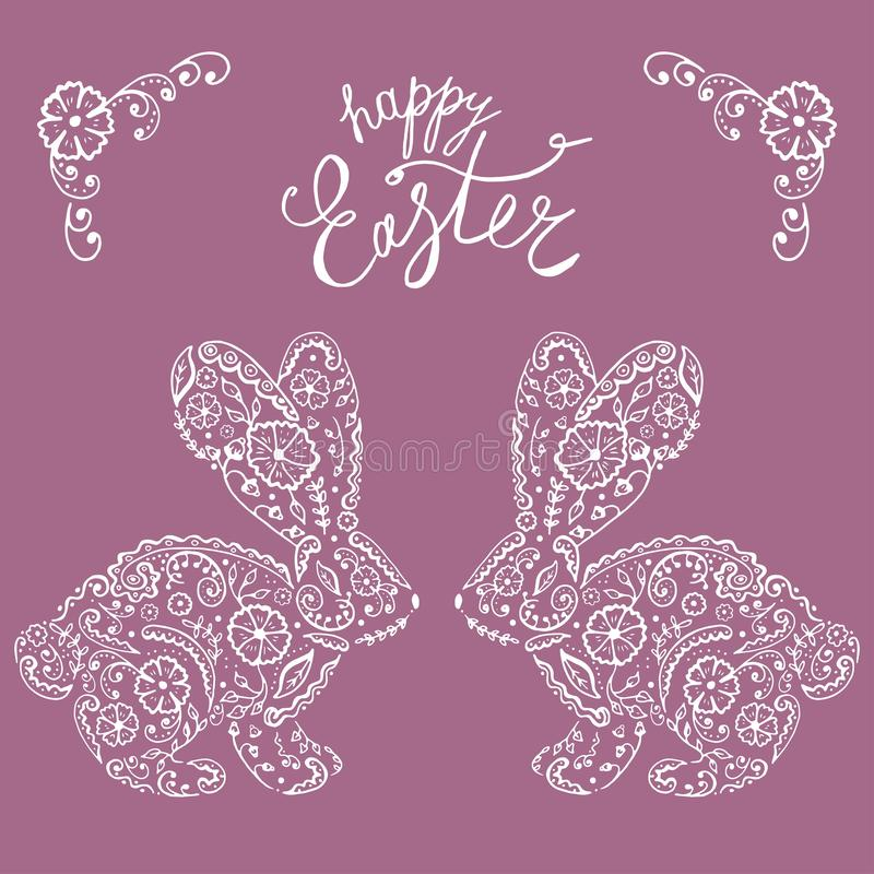 Easter bunny rabbit hand drawn Vintage card. Contour Rabbit with decorated with folk ornament and flowers ornate with ethnic pattern. Vector illustration royalty free illustration