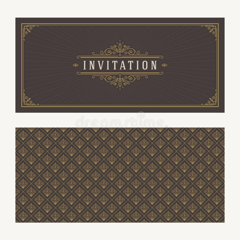 Flourishes and ornamental vector vintage design for invitation or greeting card. stock illustration