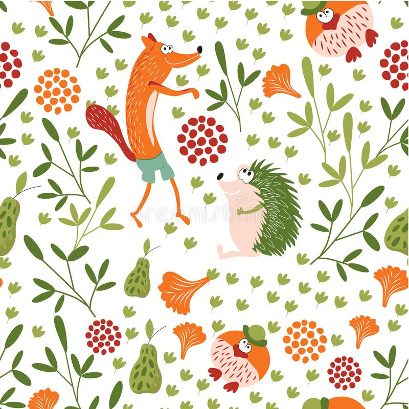 Sly Fox, hedgehog and Mr. bird walk in a forest glade. Forest animals seamless baby pattern. Background for children`s room, books. Forest animals seamless baby royalty free illustration