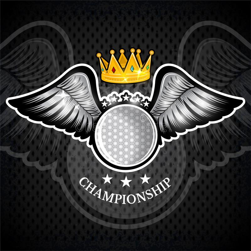 Golf ball with wings and crown. Vector sport logo for any team. And championship vector illustration