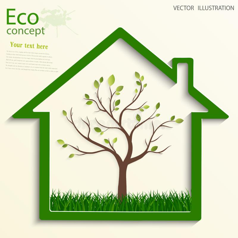 Печать. Green house, inside of which the tree. Environmentally friendly world. Illustration of ecology the concept of info graphics royalty free illustration