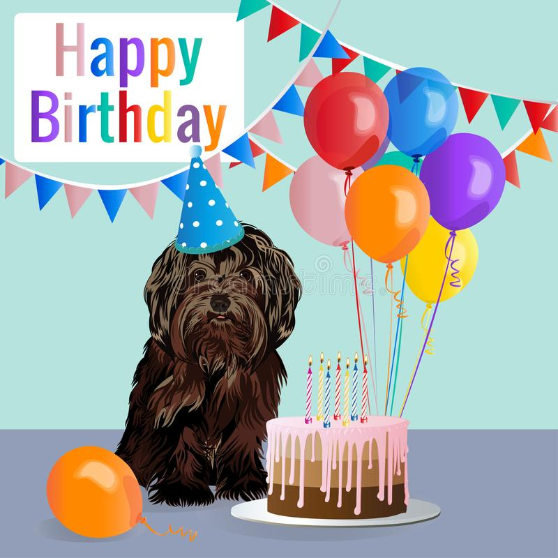 Happy birthday card with funny dog, cake, colorful balloons. Vector illustration royalty free illustration