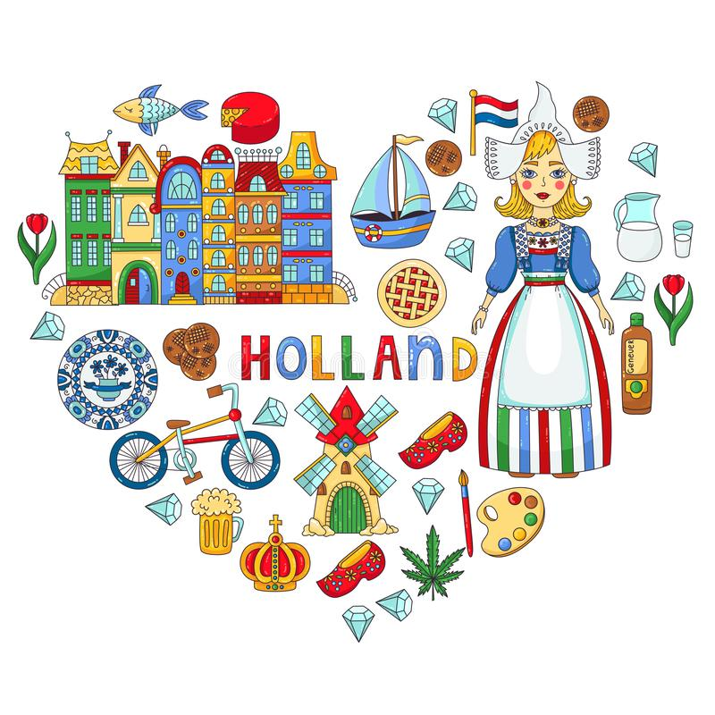 Holland Netherlands icons vector set royalty free illustration