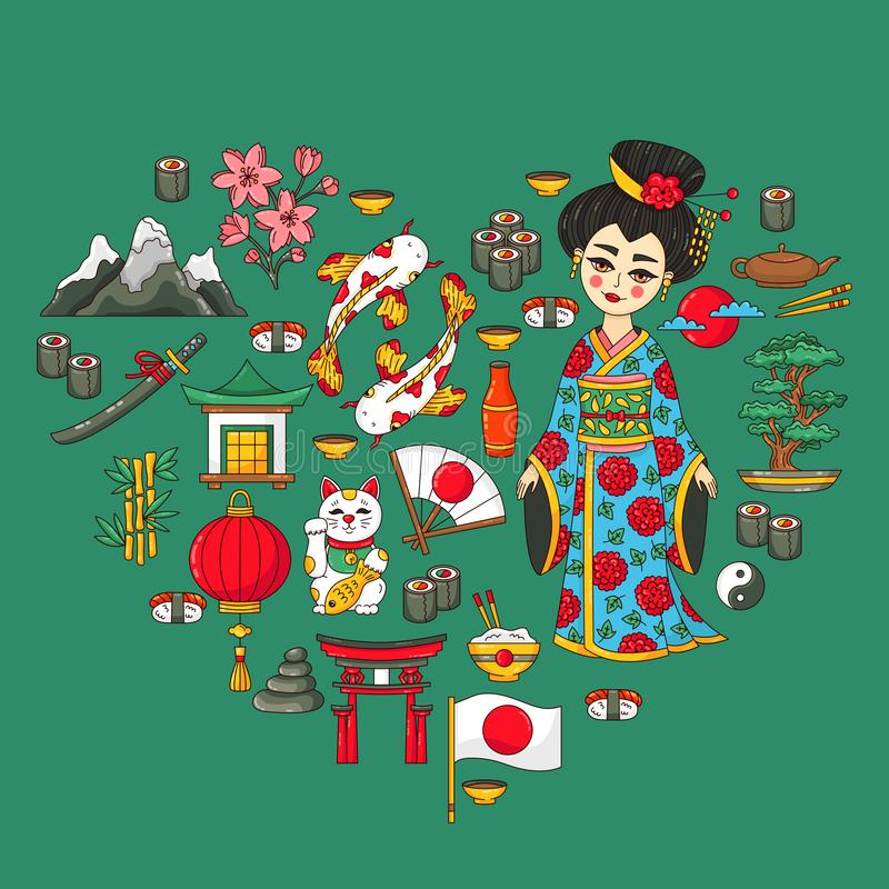 Japan traditional icons heart shape set royalty free illustration
