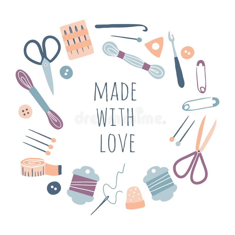 Made with love. Hobby tools in round circle frame vector illustration
