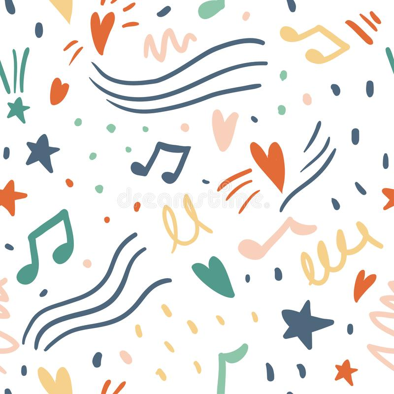 Music seamless vector pattern with cute hearts, notes. Fun abstract texture with brush strokes, abstract shapes. Fun modern original background. Trendy vector illustration