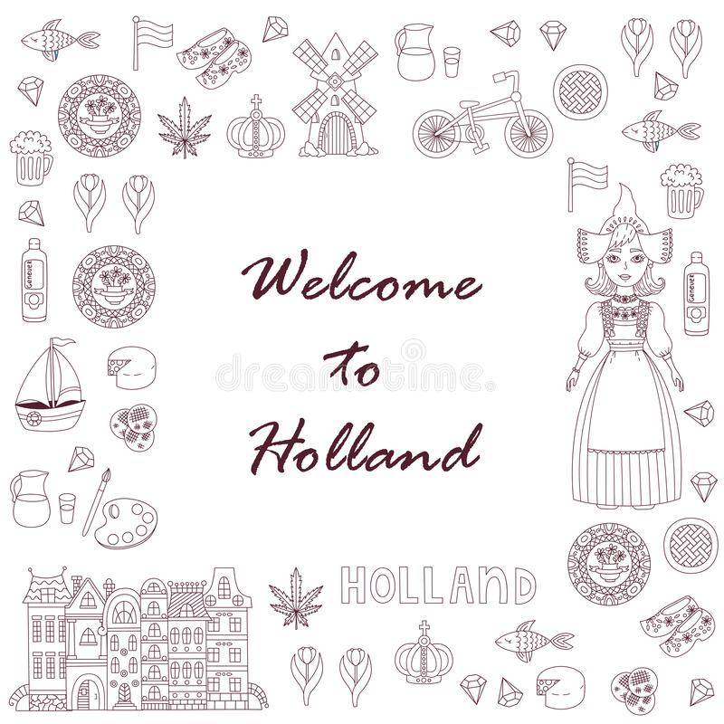 Netherlands Holland doodle icons stock illustration