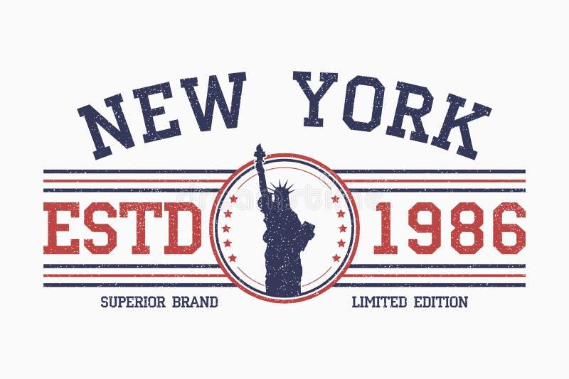 New York slogan t-shirt typography with liberty statue. Grunge tee shirt design. Vector vector illustration
